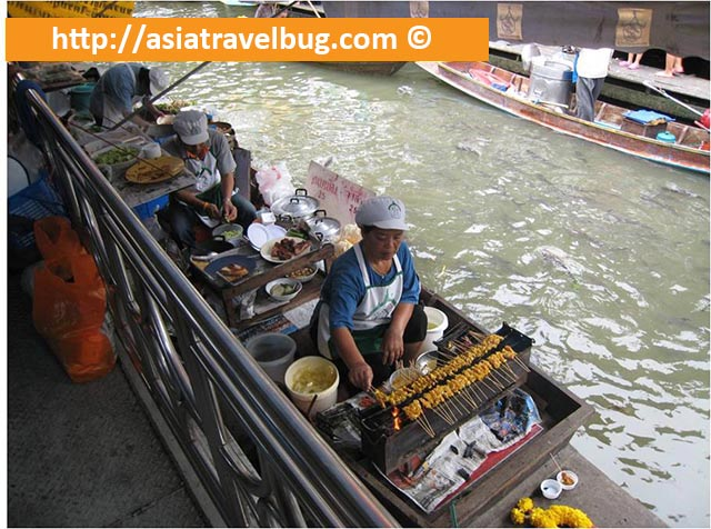 Grilled Skewers Being Sold from Boats in Taling Chan Floating Market