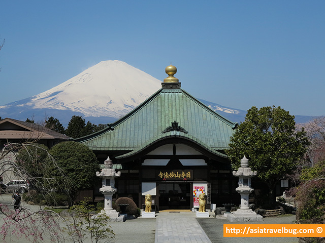 Mount Fuji as a Beautiful Backdrop of a Temple in Heiwa Park