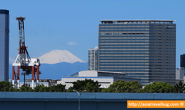 Snow Capped Mount Fuji View from Odaiba Elevated Walkway