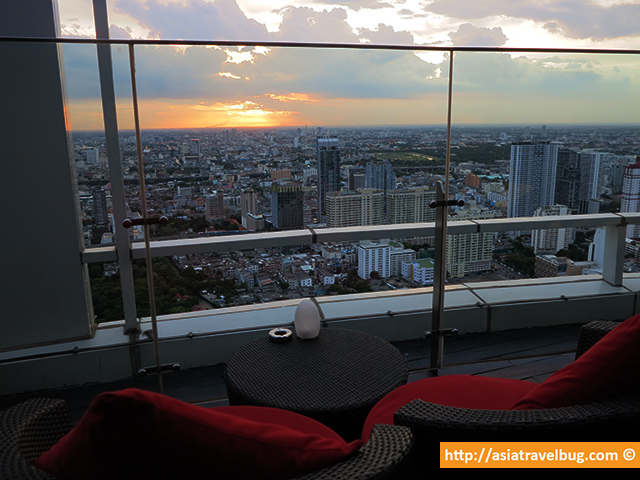 Comfy Lounge Chairs in Red Sky, 55th Floor of Centara Grand at Central World