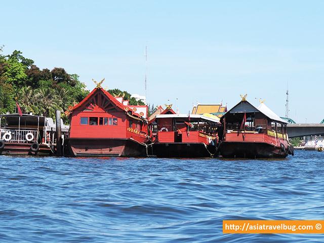 Fancy River Boats Docked Along Chao Phraya