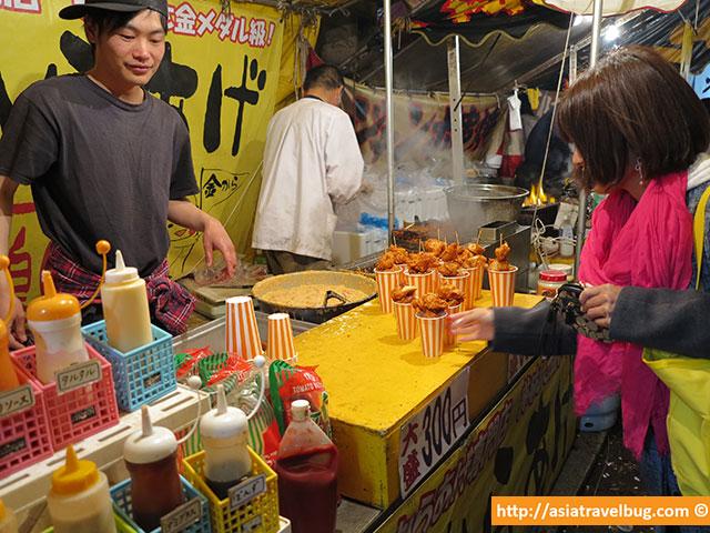 Street Food Vendor in Tokyo Selling Chicken Karaage | Tokyo Itinerary Budget