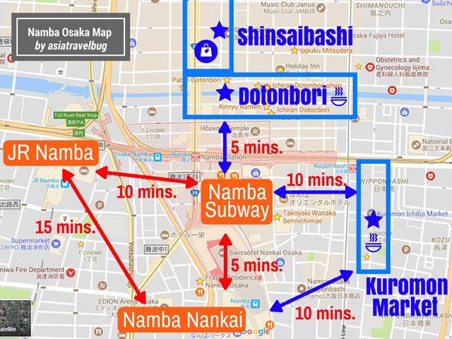 namba station map asiatravelbug best area to stay in osaka
